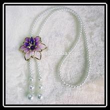 2015 New Design Jewellery Imitation Peal Beaded Long Adjustable Enamel Flower Neck Chain