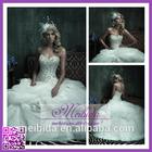 Romantic Customized Size Beaded A-line Button Back Sleeveless Sweetheart Brush Train Ruffled Organza Bride Wedding Dress