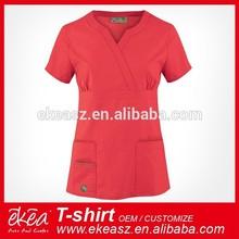 Women's Y-Neck Nursing Scrub Top with pockets