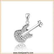 Alibaba website wholesales Delicate Crystal Inlaid silver guitar pendant necklace,OEM sterling silver pendant