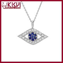 Sterling Silver Pave Evil Eye Necklace ,925 Silver Pendant Necklace Jewelry Wholesale