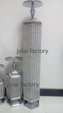 Exciting round silver crystal columns pillars wedding red carpet decorations With LED lights