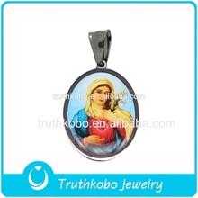 ingrosso in acciaio inox cattolica immagine enamle epossidica modelli Madre Maria e bambino Gesù ovale pendente religiosa cristiana