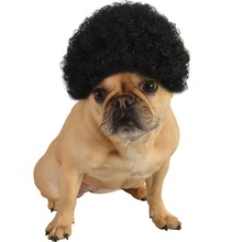 party fancy dress accessories black afro pet dog wig