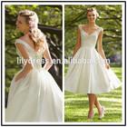 V Neck Satin A Line Custom Made Short Formal Bridal Dress Vestidos De Novia SW010 tea length wedding dress pattern