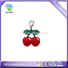 cherry fruit shaped metal circle plastic key chainPVC keyring