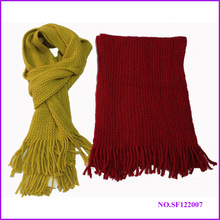 knit muffler with fringe ,plain color acrylic muffler scarf