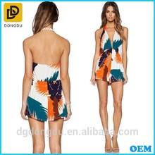 Ladies Sexy Beach Wear Floral Ptinted Halter Playsuit