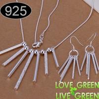 Silver jewelry set fashion necklace earrings set long pillar pendant jewelry 925 sterling silver woman shining jewelry 159