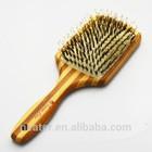 New Natural Wooden Hair Comb Brush Rectangle Shape Wood Bristles Spa Massage, bamboo Hair Brush