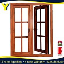 High quality wooden color German brand hardware Aluminum casement window & door double glazed windows