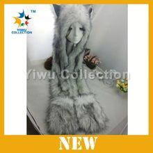 2014 Winter Styles Plush Animal Hats With Scarf Wolf Husky Panda Hats