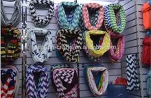 Classic chevron women polyester infinity scarf wholesale
