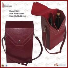 Dual leather wine champagne bottle holder shoulder carrier