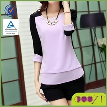 Hot sale new design simple style women latest tops and blouses 2015