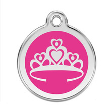 Yiwu Aceon Stainless Steel pink crown dog tag enamel