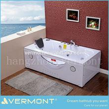 Free Standing Glass Hydro-Massage Bathtub with Jets
