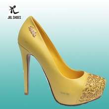 2015 burn-out flower decoration yellow synthetic leather women shoes