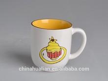 2015 ceramic mug factory Hunan Hualian 14oz round two tone yellow hand painted mug cup,gift mug,hand painted coffee mug