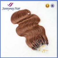 6A Grade Fashion Keratin Fusion Loop Tip Hair 100% Cheap Indian Remy Micro Loop Ring Human Hair Extension 0.9g