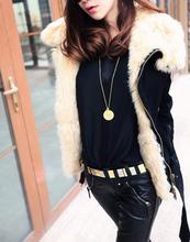 2015 Women Winter Warm Black Fur Lapel Motorcycle Jacket women thick winter wool coat