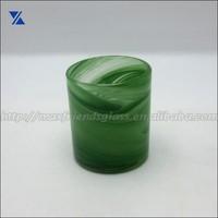 Alabaster Dark Green Coaster Glass Candle Holder