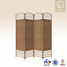 Alibaba express Wholesale rattan furniture European style light brown wood and rattan 4 panel room divider
