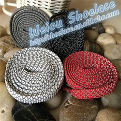Custom fashion flat 3m reflective rope shoelaces for asics shoes