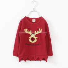 MS61976C kids t-shirt printed deer kids sweatshirts embroidered baby t-shirts