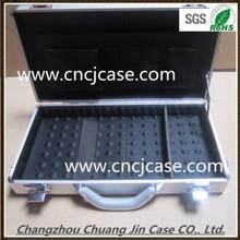 Silver aluminum computer box small round aluminum computer case with foam inserts