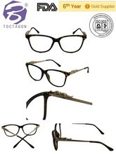 2015 new design popular good quality optical frame customized fashion injection optical frame with special metal in temple
