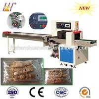 Down-paper kebabs flow packaging machine, pillow type pork shashlik wrapping machinery