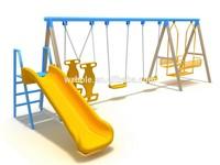 Hot Sale Galvanized Steel Tubes Swing Set Safety Garden Swing Chair With Plastic Slides For Children Outdoor Amusement