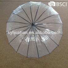 Hot selling 16 ribs simple design clear transport unique design umbrella