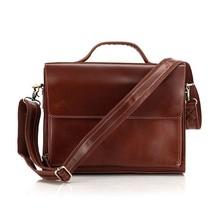 New Design 100% Genuine Cow Leather Men's Business Briefcase Laptop Handbag Shoulder leather messenger bag