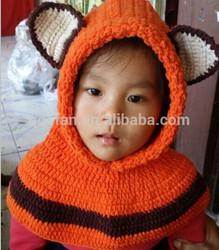 Hot sale cute handmade knitted crochet cowl hat crochet children hats knitted hooded scarve hat