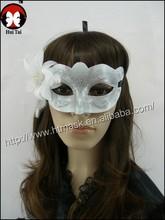 White gossamer Fashion HandMade Party Wedding Lace Mask Dance Mask Costume Venetian Masquerade mask Flower and feather