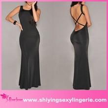 Sexy Wholesale Black Crisscross Back gamis maxi dress