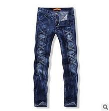 Hot-Selling MEN'S ORIGINAL SLIM FIT STRAIGHT LEG Stone Wash Threading Trendy Retro Distress JEANS