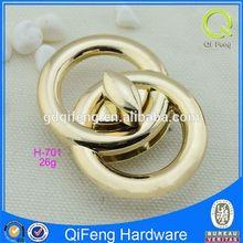 H-701 2 holes cord lock light gold twist locks elegant double round combination
