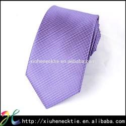 Polyester Dot Design Purple Pattered Skinny Necktie 7.5cm