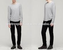 Manufacture Long sleeve Men's Tee with Raw Hem 100% Cotton Comfortable Tee Shirt