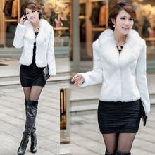 Women's winter warm faux fur black/white fur coat for sale CB031777