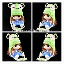 wholesale green frog crochet kids hat , crochet animal hats for kids , funny hats for sale