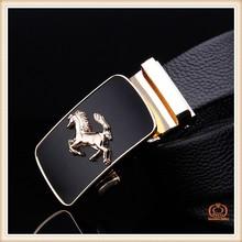 Hot sale black leather men belt automatic buckle gold wholesale