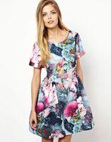 HFR-T1320 Retro printing new ladies fashion dress 2014 design