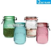 Venda quente com clip alimentos vasilha de vidro conjuntos, frasco dos doces, frascos de pedreiro