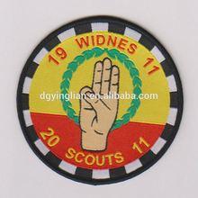 high density hot melt glue backing scout badge for uniform