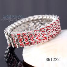 "Hot Sale Elastic ""Love"" Chain Word Bracelets for Love, Novel Bangle Bracelets in Zinc Alloy Wholesale"