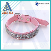 New listing pink crystal leather gift dog collar XS/S/M/L in stock